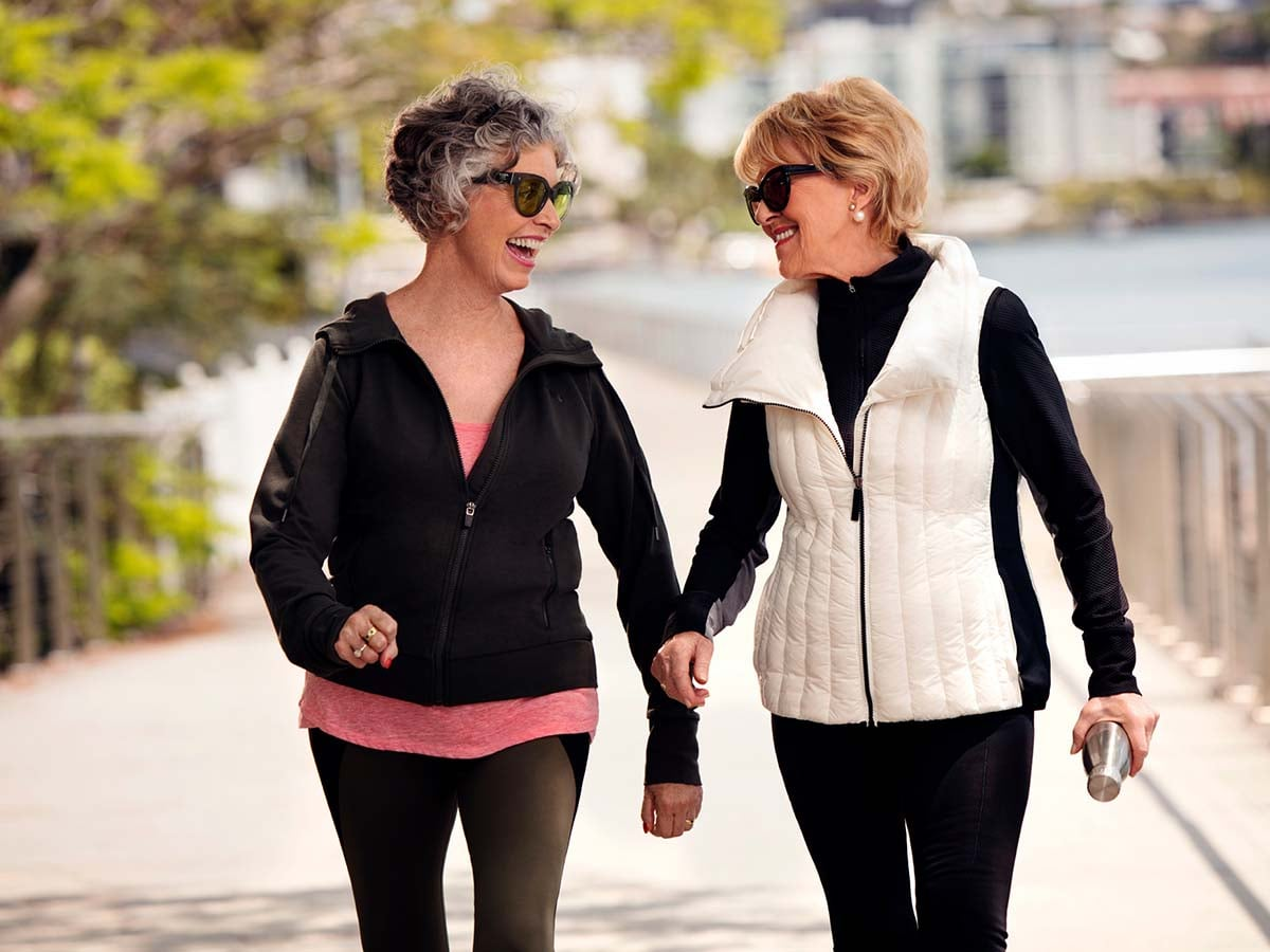 Ladies walking near their retirement community