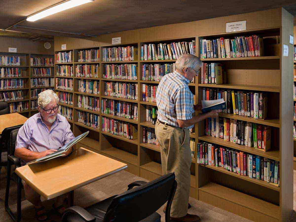 Two men in Aveo Durack Library