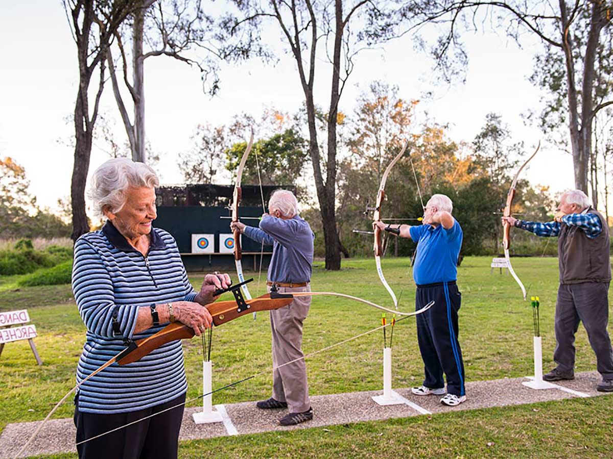 Residents doing archery