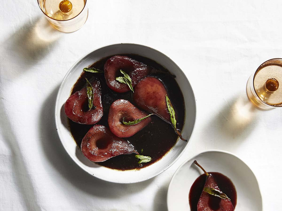 Aveo cookbook red wine braised pears with lemon verbena recipe