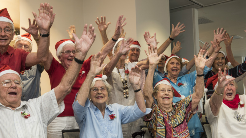 Local Aveo residents sing for wellness and Parkinson's disease